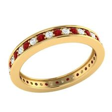0.60 ct Red Ruby & Sapphire Solid Gold Full Eternity Wedding Band Ring Size 7