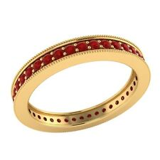0.60 ct Round Cut Red Ruby Solid Gold Wedding Full Eternity Band Ring Size 7