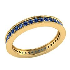 0.60ct Round Cut Blue Sapphire Solid Gold Wedding Full Eternity Band Ring Size 7