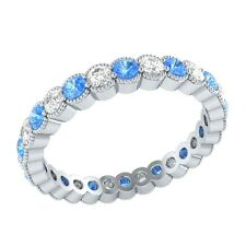 0.98 ct Blue Topaz & Sapphire Solid Gold Wedding Full Eternity Band Ring Size 7