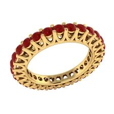 1.40 ct Round Cut Red Ruby Solid Gold Full Eternity Wedding Band Ring Size 7