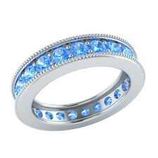 1.60 ct Round Cut Blue Topaz Solid Gold Wedding Full Eternity Band Ring Size 7