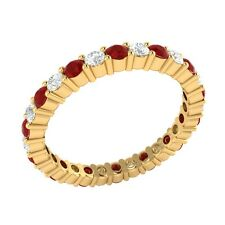 0.99 ct Red Ruby & Sapphire Solid Gold Full Eternity Wedding Band Ring Size 7