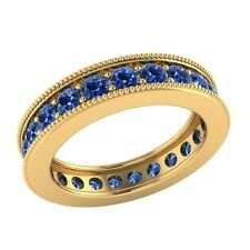 1.60ct Round Cut Blue Sapphire Solid Gold Wedding Full Eternity Band Ring Size O