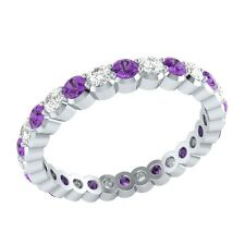 0.98 ct Amethyst & Sapphire Solid Gold Full Eternity Wedding Band Ring Size O
