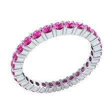 0.99 ct Round Pink Sapphire Solid Gold Full Eternity Wedding Band Ring Size O