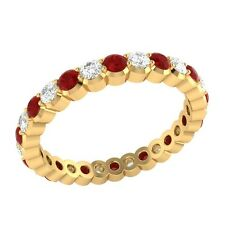 0.98 ct Red Ruby & Sapphire Solid Gold Full Eternity Wedding Band Ring Size O