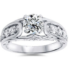 Women's 1 1/4ct Vintage Antique Style Diamond Engagement Ring 14K White Gold