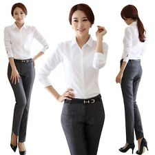 Fashion Women Office Formal Button Down Shirt OL Ladies Long Sleeve Tops Blouse