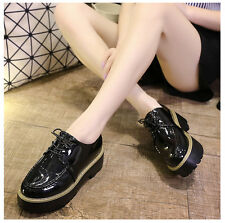 Womens Retro Preppy Lace Up Creepers High Platform Mid Heels Punk Gothic Shoes