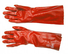 10 PAIRS RED LONG Heavy Duty PVC Rubber Coated Gauntlets  Gloves 14