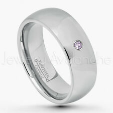 0.07ct Amethyst Solitaire Ring, February Birthstone, 8mm Dome Tungsten Ring #175