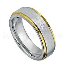0.07ct Amethyst Solitaire Ring, February Birthstone, 2-Tone Tungsten Ring #330