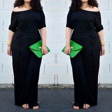 Plus Size Women Ladies Sexy Long Sleeve Cocktail Maxi Long Evening Party Dress