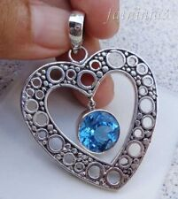 Gemstone Solid Silver, 925 Bali Handcrafted Heart Pendant 23826
