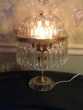 Vintage Victorian Cut Glass Table Lamp Cut Glass Dome Shade 30 Prisms Elegant