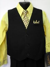 Vangogh boys light yellow long sleeve 4 piece dress set. Size 8 & 14