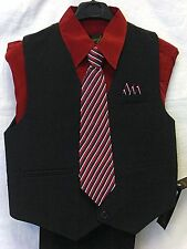 Vangogh boys burgundy 4 piece long sleeve dress suit set #1000