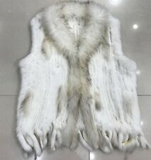 100% REAL KNIT RABBIT FUR CARDIGAN VEST TASSELS COAT JACKET WOMAN WARM FUR COATS