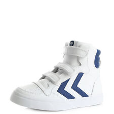 Kids Boys Hummel Stadil Hiigh Top Limoges Blue White Leather Trainers Size