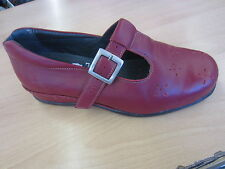 Ladies Sandpiper Buckle Shoe, Red Leather, Ascot