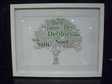 LUXURY FAMILY TREE word art picture with frame mount diamontes