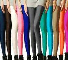 Womens Leggings Pants Candy Colors High Waisted Footless Shiny Disco