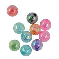 50/10pcs CRAFT MIXED COLOURS ROUND BALL CRACKLE ACRYLIC BEADS JEWELRY 12/18/22MM