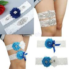 Crystal Rhinestone Flower White Lace Bridal Bowknot Garter Set Wedding Garter