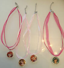 DISNEY PRINCESS RHINESTONE BOTTLE CAP NECKLACE - GREAT FOR PARTY BAGS