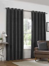 PLAIN CHENILLE CHARCOAL GREY LINED RING TOP EYELET CURTAINS 4 SIZES