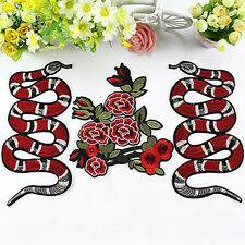 Peony Flower Snake Embroidery Sew Iron On Patch Badge Clothes DIY Applique Punk