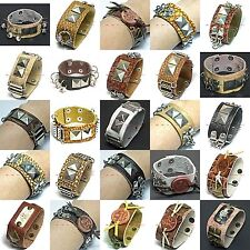 SWRM0011 MANY HIP HOP STYLES GENUINE LEATHER RIVET STUD BRACELET WRISTBAND