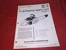 McCulloch Chainsaw 1965 ILLUSTRATED PARTS LIST MAC 1-10 2-10 ORIGINAL