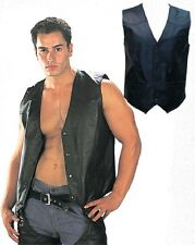 New Mens USA Classic Leather 4 Snap Vest Casual Dress Sport Biker Vest Black