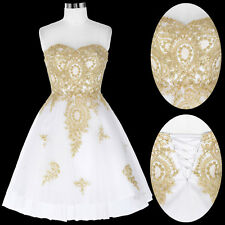 SHORT Golden Appliques Bridesmaid Ball Evening Prom Party Gowns Wedding Dresses