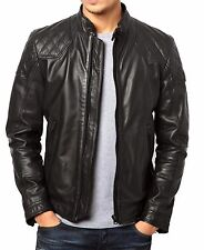 New Men's Genuine Lambskin Leather Jacket Slim fit Biker Motorcycle jacket-MX53