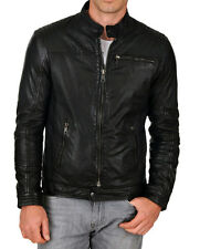 New Men's Genuine Lambskin Leather Jacket Slim fit Biker Motorcycle jacket-MX57