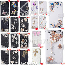 Magnetic Bling Luxury Diamonds Crystal PU Leather wallet flip Stand Cover Case P