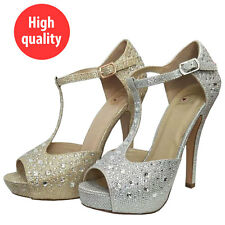 Women Rhinestones Evening Prom Party Wedding Platform Silver Gold High Heels