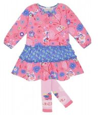 NWT LE TOP FLORAL BLOOM DRESS & FOOTLESS TIGHTS girl set sz 4y 5y 6y 6x 1201453