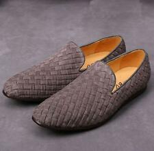 New Suede Leather Weave Woven Slip On Loafers Men Driving Shoes Moccasin-gommino