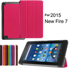 New For Amazon Kindle Fire 7 2015 PU Leather Flip Folio Case Stand Cover Tablet