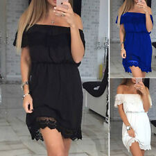 Fashion Lady Lace Sexy Off Shoulder Party Evening Cocktail Club Short Mini Dress