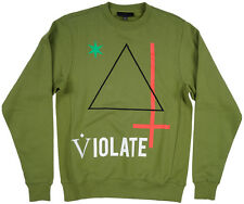 Black Scale Violate Triangle Crew Men's Pullover Olive S-3XL BLVCK SCVLE Fleece