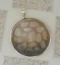 Solid Silver, 925 Balinese Shell Carved Round Natural Pendant 37128
