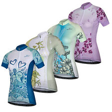 Flowers Reflective Cycling Jersey Women's Cycle Jersey Shirt with Zip Pocket