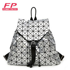 Fashion Women Drawstring Backpack Diamond Lattice Geometry Quilted Ladies Bac...