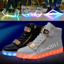 Boy Girl Kid LED Light Up Boots Shoes Luminous Lace Up Casual High Top Sneakers