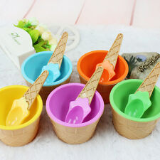 Children's Ice Cream Bowls With Spoon Durable Plastic Ice Cream Cup Dessert Bowl